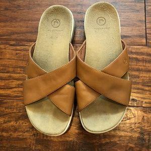 Rockport Brown Cross Slide Leather Sandals